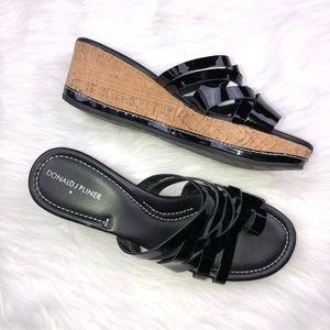 Donald J. Pliner Black patent Platform Sandals